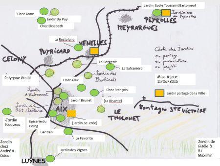 Carte des jardins cultivés en permaculture du pays d'aix en transition 2015-06-11