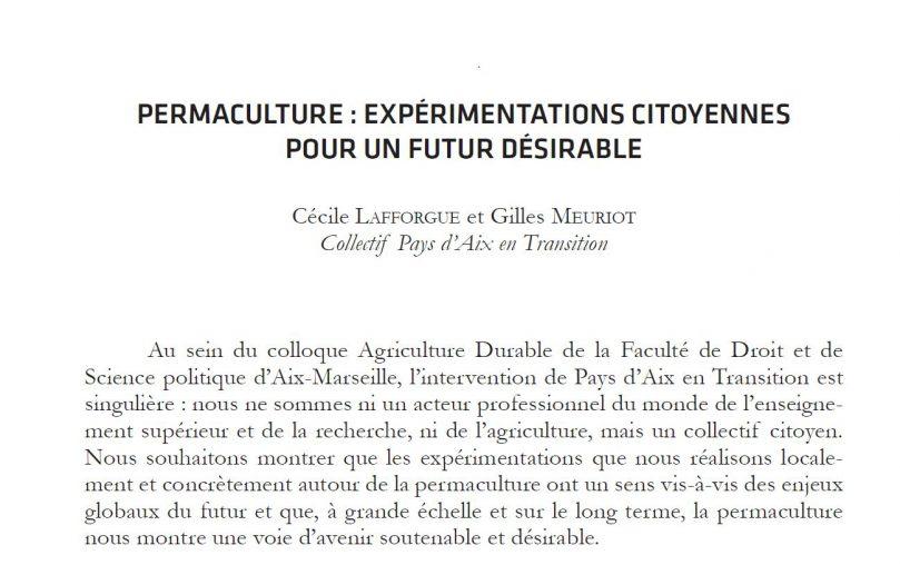Pays d'Aix en Transition auteur d'un article universitaire